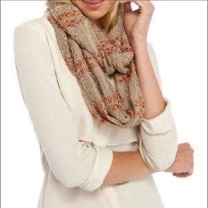 Kim Rogers speckled Tan /Orange Infinity scarf